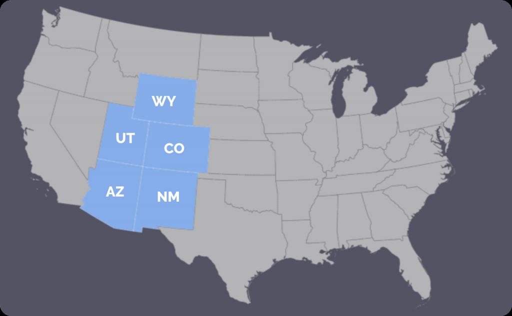 Map highlighting Wyoming, Utah, Colorado, Arizona, and New Mexico